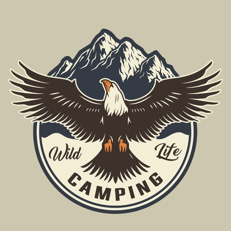 Vintage summer adventure colorful emblem with eagle and mountains isolated vector illustration
