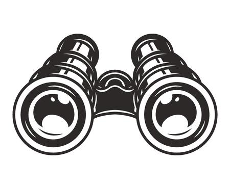 Vintage binoculars template on white background isolated vector illustration Illustration