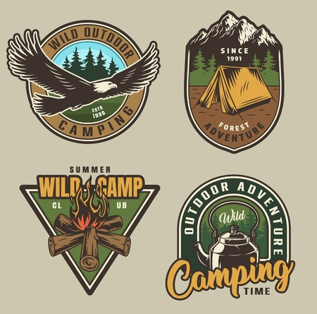 Colorful summer adventure labels with flying eagle tent campfire kettle in vintage style isolated vector illustration Vector Illustration