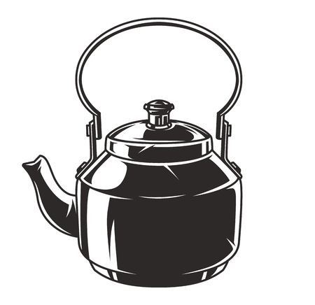 Vintage camping kettle concept in monochrome style isolated vector illustration