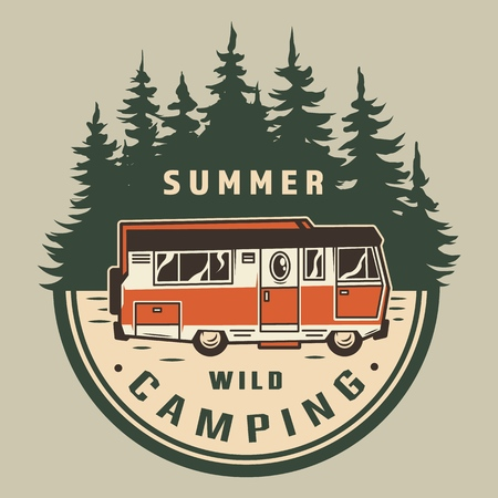 Vintage summer outdoor adventure logo with travel truck and forest landscape isolated vector illustration