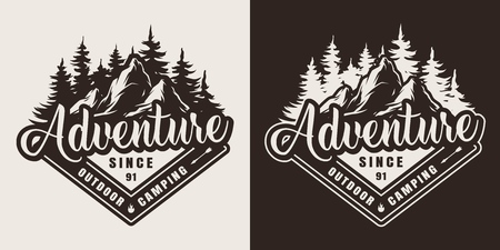 Vintage outdoor recreation print with mountain and forest landscapes in monochrome style isolated vector illustration Ilustração