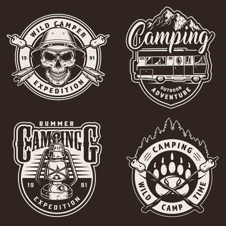 Vintage summer camping prints with skull in safari hat crossed arrows marshmallows on sticks travel truck gas lantern in monochrome style isolated vector illustration