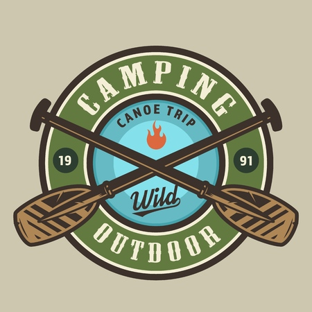 Vintage camping time round colorful logotype with crossed wooden boat paddles isolated vector illustration