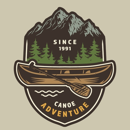 Vintage summer adventure colorful label with canoe and paddle on forest and mountains landscape isolated vector illustration