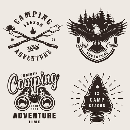 Vintage camping emblems with eagle binoculars camp stone tool forest mushroom and marshmallow on sticks in monochrome style isolated vector illustration