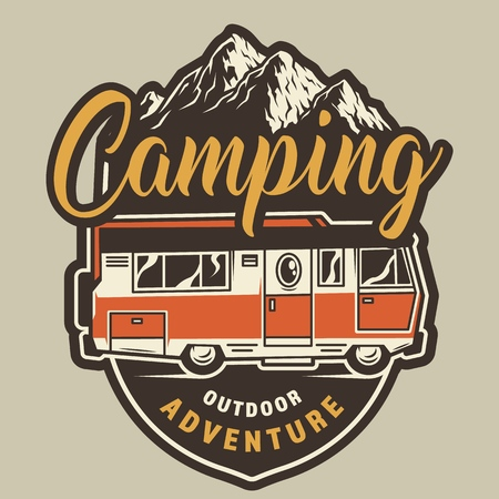 Vintage summer camping colorful badge with travel truck on mountains landscape isolated vector illustration Illustration