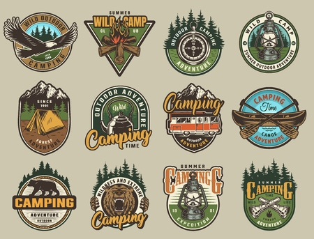 Colorful summer adventure labels set with eagle ferocious bear head bonfire compass lantern tent kettle canoe paddles flashlights in vintage style isolated vector illustration