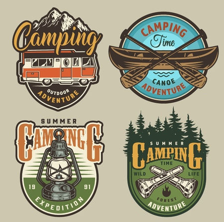 Vintage summer recreation colorful logos with travel truck canoe lantern crossed paddles and flashlights isolated vector illustration