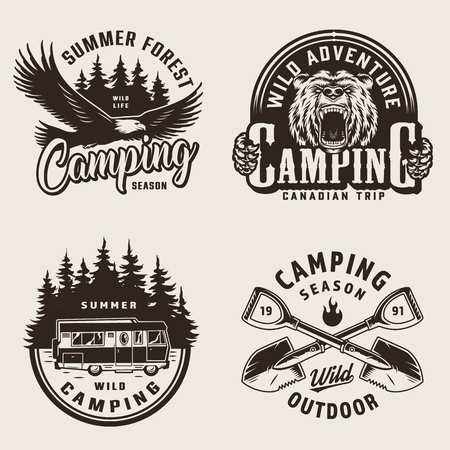 Vintage summer camping emblems with eagle aggressive bear travel truck and crossed spades in monochrome style isolated vector illustration