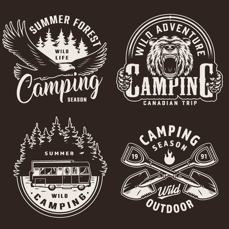 Vintage camping season monochrome labels with flying eagle ferocious bear head motorhome forest silhouette crossed shovels isolated vector illustration