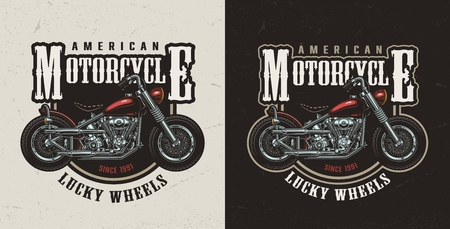 Colorful american custom motorcycle logotype with chopper in vintage style isolated vector illustration