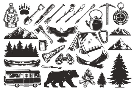 Vintage monochrome camping elements set with animals forest mountains lantern spade arrow paddle pickaxe knife ax flashlight tent kettle compass cup canoe bonfire motorhome vector illustration