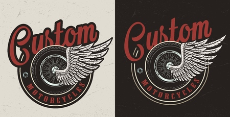 Vintage custom motorcycle colorful badge with motorbike winged wheel isolated vector illustration