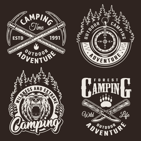 Monochrome camping logos with navigational compass angry bear head crossed pickaxes and knives in vintage style isolated vector illustration