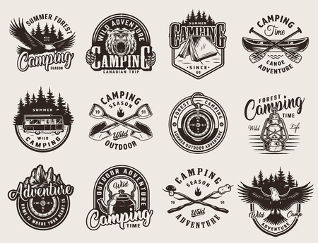 Vintage monochrome outdoor recreation emblems with animals camping tent tools canoe paddles forest and mountains landscapes isolated vector illustration