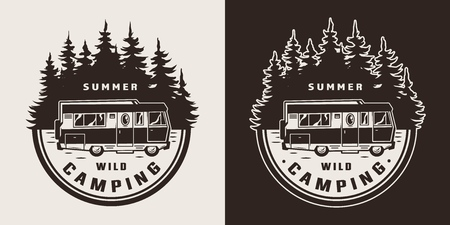 Vintage summer adventure monochrome badge with motorhome and forest silhouette isolated vector illustration