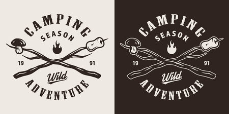 Vintage camping monochrome emblem with mushroom and marshmallow on crossed sticks isolated vector illustration