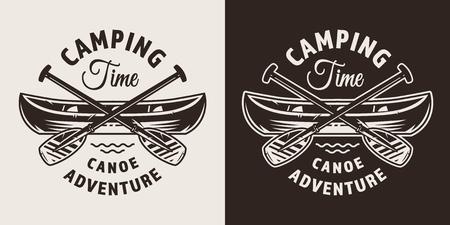 カヌーボートとクロスパドル分離ベクトルイラストとヴィンテージモノクロ屋外冒険バッジ