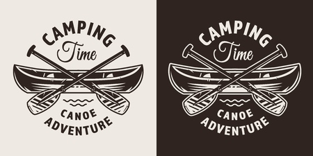 Vintage monochrome outdoor adventure badge with canoe boat and crossed paddles isolated vector illustration