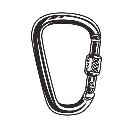 Monochrome metal carabiner concept in vintage style isolated vector illustration