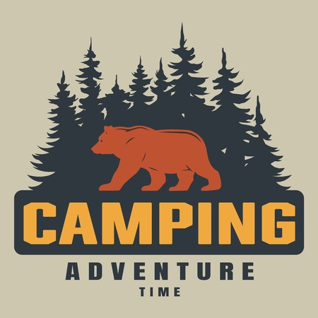 Vintage colorful summer camping emblem with bear silhouette on forest landscape isolated vector illustration Vettoriali