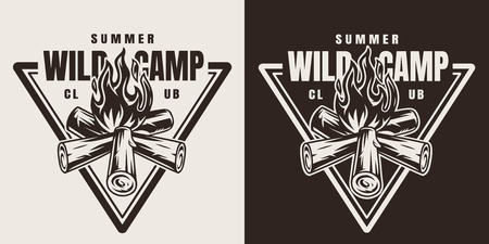 Monochrome camping season emblem with bonfire in vintage style isolated vector illustration