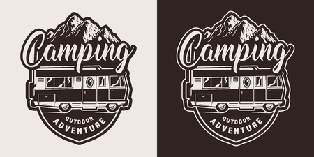 Monochrome camping emblem with summer travel truck and mountains in vintage style isolated vector illustration