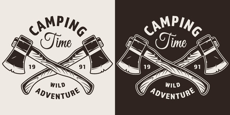 Monochrome camping season print with tourist crossed axes in vintage style isolated vector illustration