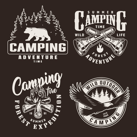 Vintage monochrome summer adventure badges with walking bear silhouette crossed flashlights flying eagle bonfire isolated vector illustration