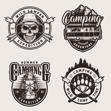 Vintage monochrome outdoor recreation labels with skull in pith helmet motorhome mountains lantern crossed arrows marshmallows on sticks bear footprint isolated vector illustration