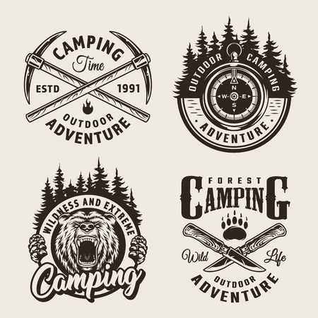 Vintage monochrome camping summer labels with crossed pickaxes and knives navigational compass aggressive bear head forest landscapes isolated vector illustration Illustration