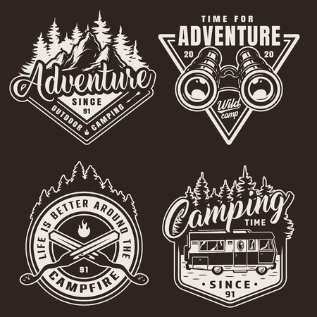 Vintage monochrome camping labels with binoculars crossed skewers travel truck forest and mountains landscape isolated vector illustration
