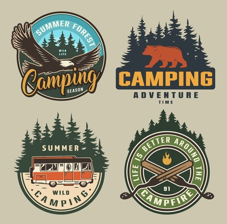 Vintage summer camping colorful badges with flying eagle bear silhouette forest motorhome crossed skewers isolated vector illustration Illustration