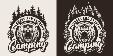 Vintage monochrome camping season logotype with angry bear head and forest silhouette isolated vector illustration