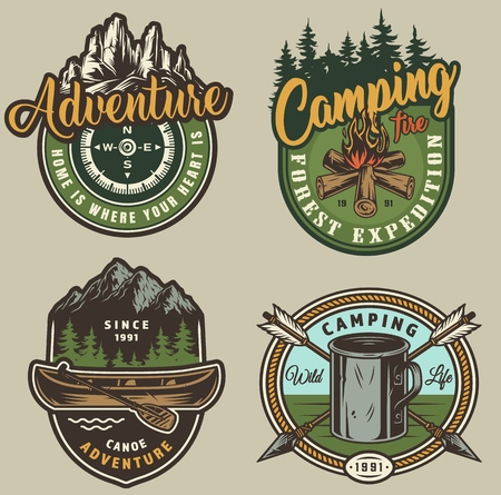 Vintage summer outdoor recreation colorful prints with campfire kettle crossed arrows canoe paddle navigational compass forest and mountains isolated vector illustration