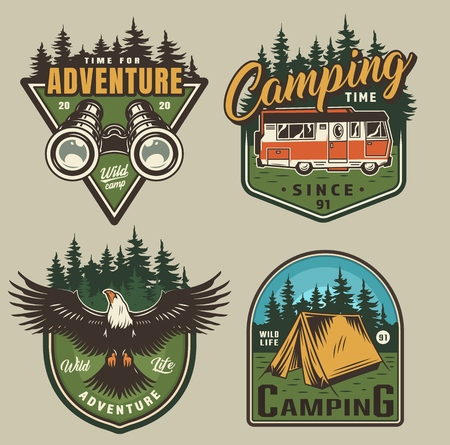 Vintage outdoor recreation colorful logos with binoculars motorhome eagle tent and forest landscapes isolated vector illustration Illustration