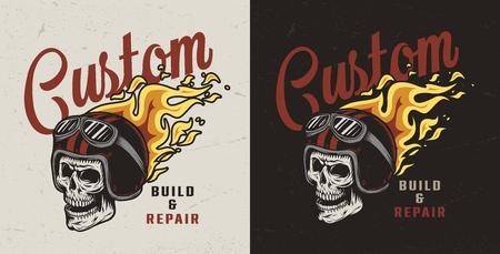 Emblema de taller de reparación de motocicletas colorido con calavera en casco ardiente en estilo vintage aislado ilustración vectorial Ilustración de vector