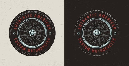 Vintage colorful custom motorcycle label with inscriptions and motorbike wheel isolated vector illustration