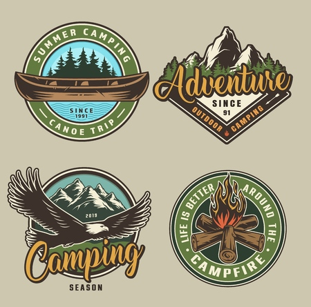 Vintage summer camping colorful prints with canoe flying eagle campfire forest and mountains scenery isolated vector illustration Stock Vector - 124545981
