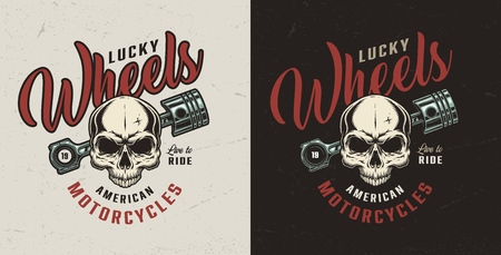 Vintage motorcycle repair service colorful badge with skull and engine piston isolated vector illustration