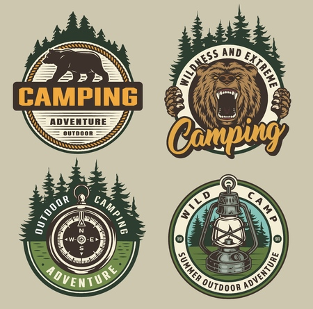 Vintage colorful camping badges with walking bear ferocious grizzly head navigational compass lantern forest landscape isolated vector illustration