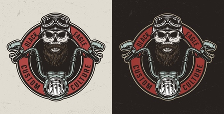 Vintage custom motorcycle colorful print with moto steering wheel and biker skull in helmet and goggles isolated vector illustration