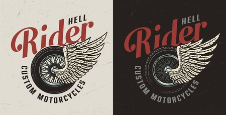 Vintage colorful custom motorcycle badge with inscriptions and winged moto wheel isolated vector illustration