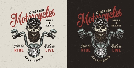 Vintage custom motorcycle colorful logo with chopper front view and biker skull in helmet and goggles isolated vector illustration