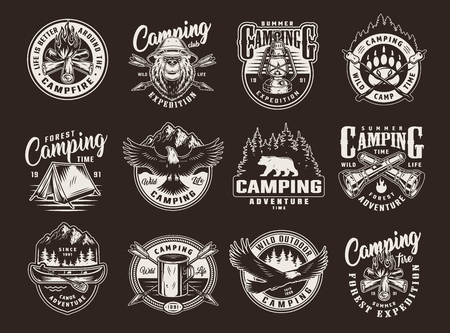 Vintage summer camping logos with bears flying eagle bonfire tent canoe paddle metal cup gas lantern crossed arrows flashlights marshmallow on sticks isolated vector illustration Illustration