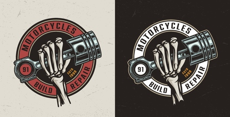 Vintage motorcycle maintenance service print with skeleton hand holding engine piston isolated vector illustration