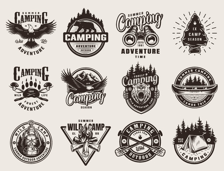 Vintage outdoor adventure emblems with eagle bears binoculars camping tools canoe crossed paddles campfire tent gas lantern on light background isolated vector illustration