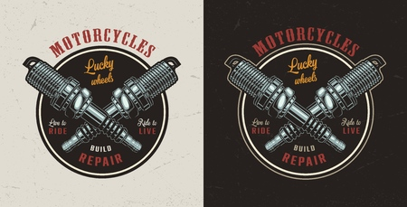 Vintage motorcycle repair shop colorful emblem with crossed motor spark plugs isolated vector illustration