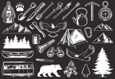 Collezione vintage di elementi di ricreazione all'aperto con animali foresta e montagne paesaggi canoa viaggio camion campeggio strumenti e attrezzature illustrazione vettoriale isolato